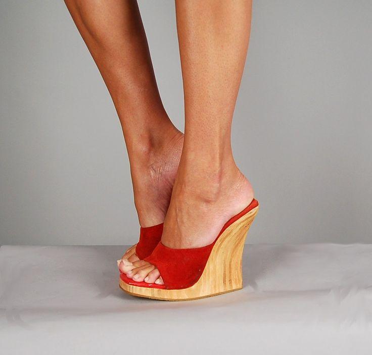 Yellow High Heel Clogs   vintage 70s platform heels clogs suede lipstick by NodtoModvintage