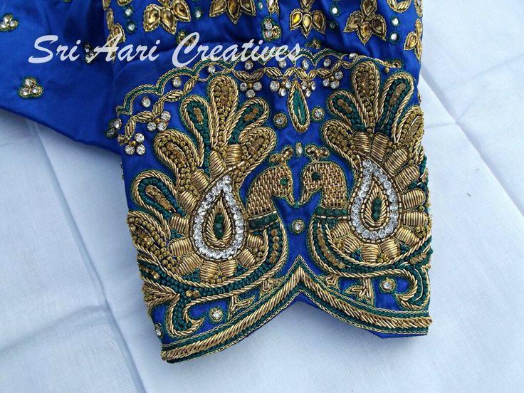 "Bridal peacock design zardosi work blouse, For orders contact ""Sri Aari Creatives"" - 9842995293"