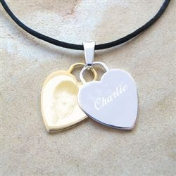 Double Heart pendant in Stainless Steel with image and text engraving.  A beautiful gift for yourself or someone special.