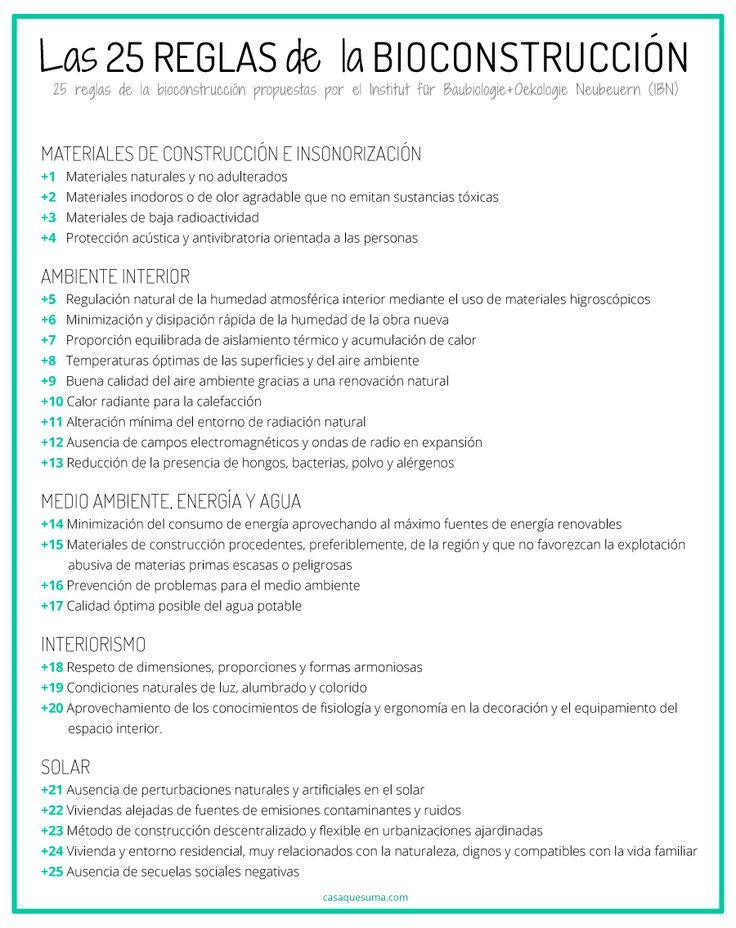 25 reglas de la BIOCONSTRUCCION