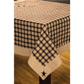 Black Primitive Star Tablecloth, barn star country linens table cloth