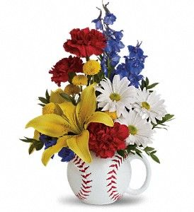 Wouldn't this look great on your 4th of July table?  Call Heavens Scent Flowers and order today.  417-732-1334