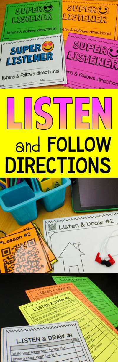 #TeacherTip - Listen and Follow Directions: Motivate your students with brag tags, happy notes, and practice listening skills with these fun Listen & Draw activities. Can be teacher directed or QR code. paid