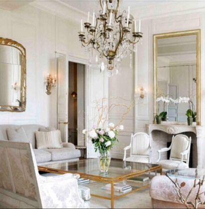 Jacques Grange ~ Apartment At Places Des Vosges In Paris   Gilded Mirror    Chandelier