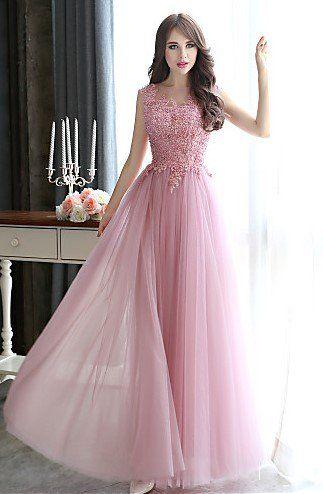 edd47878e5aa pink dress roz forema makri me dantela Μακριά φορέματα σε παλ χρώματα