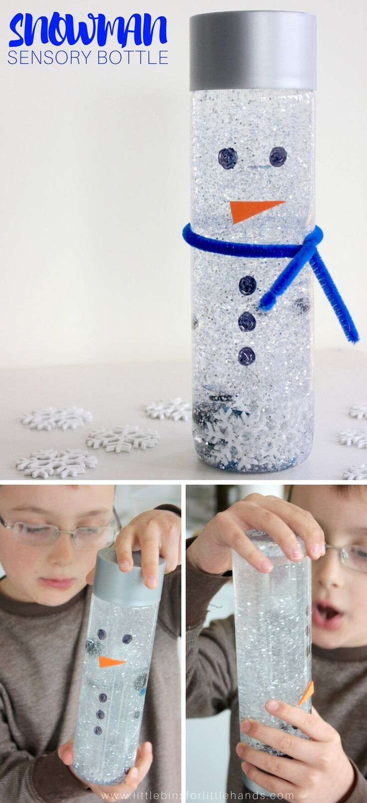 A snowman sensory bottle is exactly the place I prefer to see my snow, but my son loves the white fluffy stuff! However, I do live in New England, and I am no stranger to mounds of snow. It's mid-December here and pretty warm, 60 degrees warm! There is not one flake of snow in the air or in the forecast. So what do you instead of building a real snowman? My son and I made a snowman sensory bottle to enjoy the snow falls again. #sensory #sensorybottle #sensoryplay #winter #snowman #ece