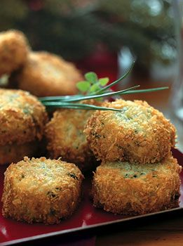 Italian fontina risotto cakes with fresh chives....