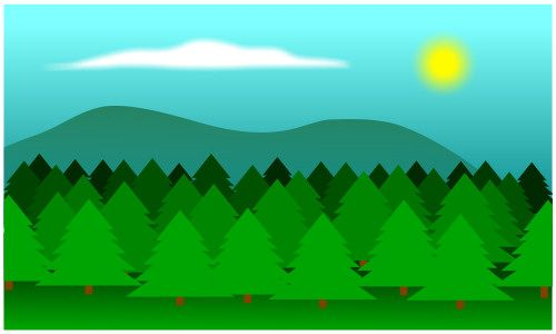 Cool background made of trees, a sun and some clouds. Draw this cartoon forest today!