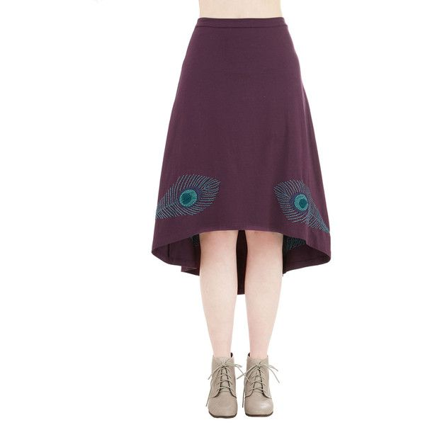 Eco-Friendly Mid-length A-line Truth or Flair Skirt by ModCloth (£23) ❤ liked on Polyvore featuring skirts, bottoms, apparel, purple, high low skirt, hi low skirt, hi lo skirt, mid length a line skirt and knee length a line skirt