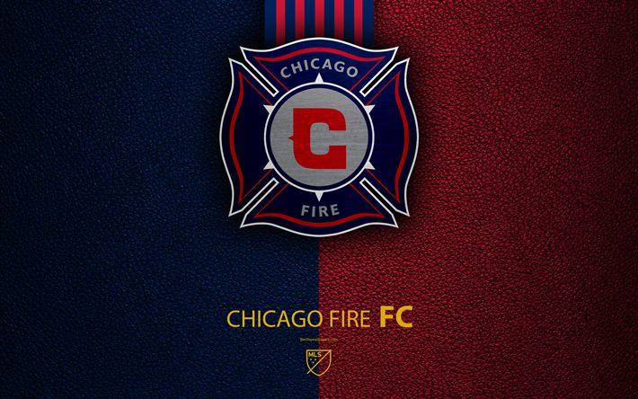 Télécharger fonds d'écran Chicago Fire FC, 4k, American football club de la MLS, le cuir de texture, le logo, l'emblème, la Major League Soccer, Chicago, Illinois, etats-unis, le football, le logo de la MLS