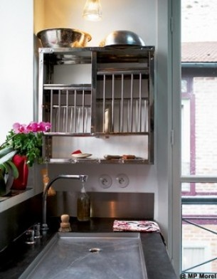 simple kitchen with indian dish rack flat sink