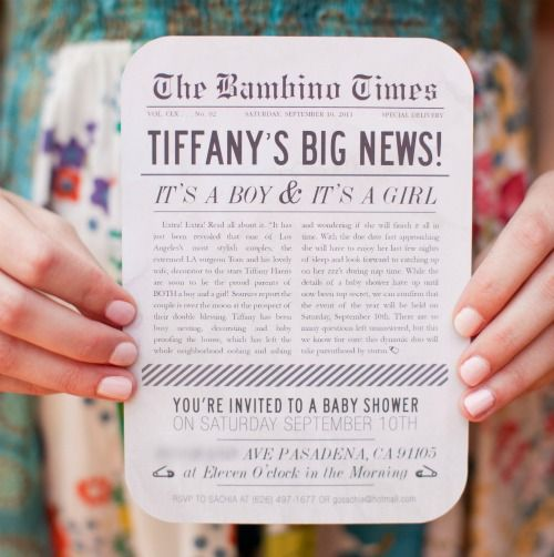 """Big News"" Theme Baby ShowerShowers, Vintage Shower, Twin Baby, Baby Shower Invitations, Baby Shower Ideas, Baby Announcements, Vintage Newsprint, Shower Theme, Baby Shower"