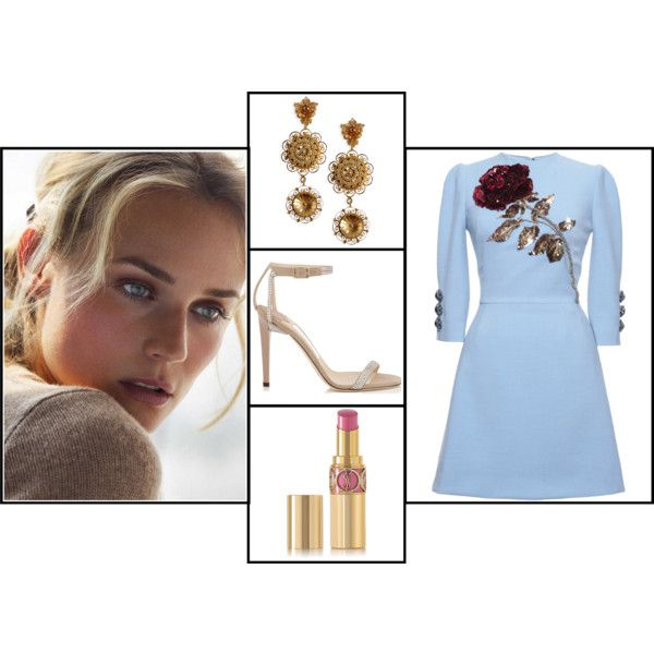 Diane Kruger - Cannes FF 2015 by voltinimiriam on Polyvore featuring bellezza, Yves Saint Laurent, Dolce&Gabbana and Jimmy Choo