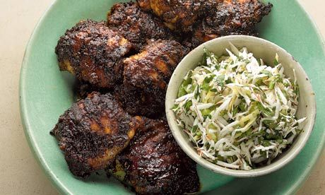 Yotam Ottolenghi recipes: jerk-spiced chicken with fresh coconut salsa, plus sprouting broccoli and endamame salad with curry leaves and lime