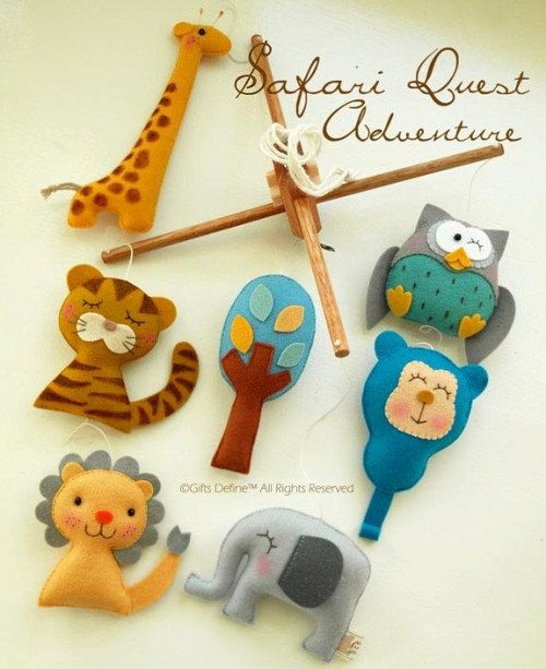 Musical Baby Mobile SAFARI QUEST ADVENTURES, Zoo Jungle Theme Nursery, Handmade Felt Mobile, Hanging Crib Mobile, Nursery or Playroom Decor