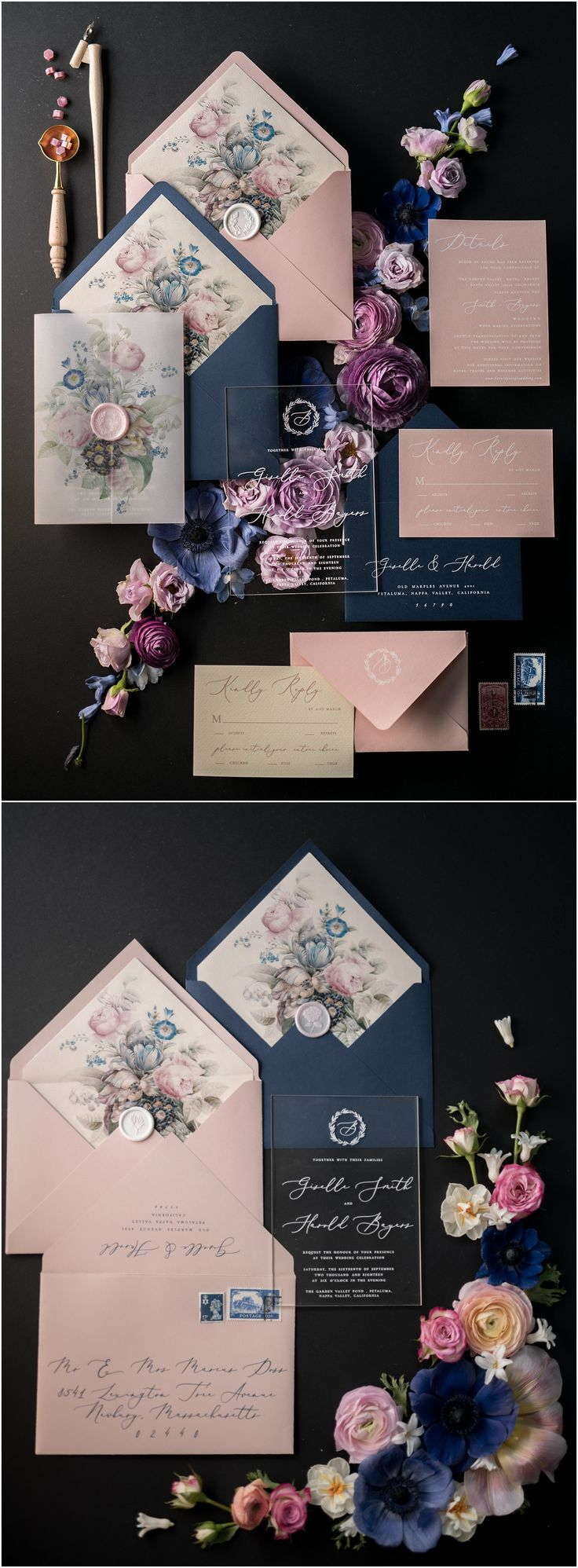 vintage country garden wedding invitations%0A Navy and pink vintage wedding invitations    ACGN z  weddings  navywedding
