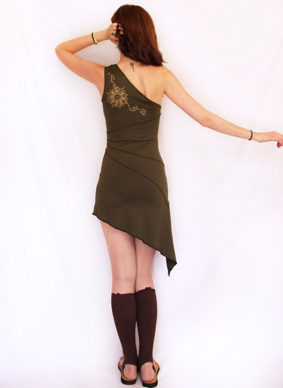 One shoulder dress. Pixie dress. faery dress. by AbstractikaCrafts, £35.00