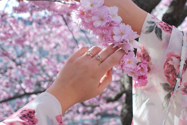 Sakura & Mini Sakura silver rings. Cherry blossom feels every day.