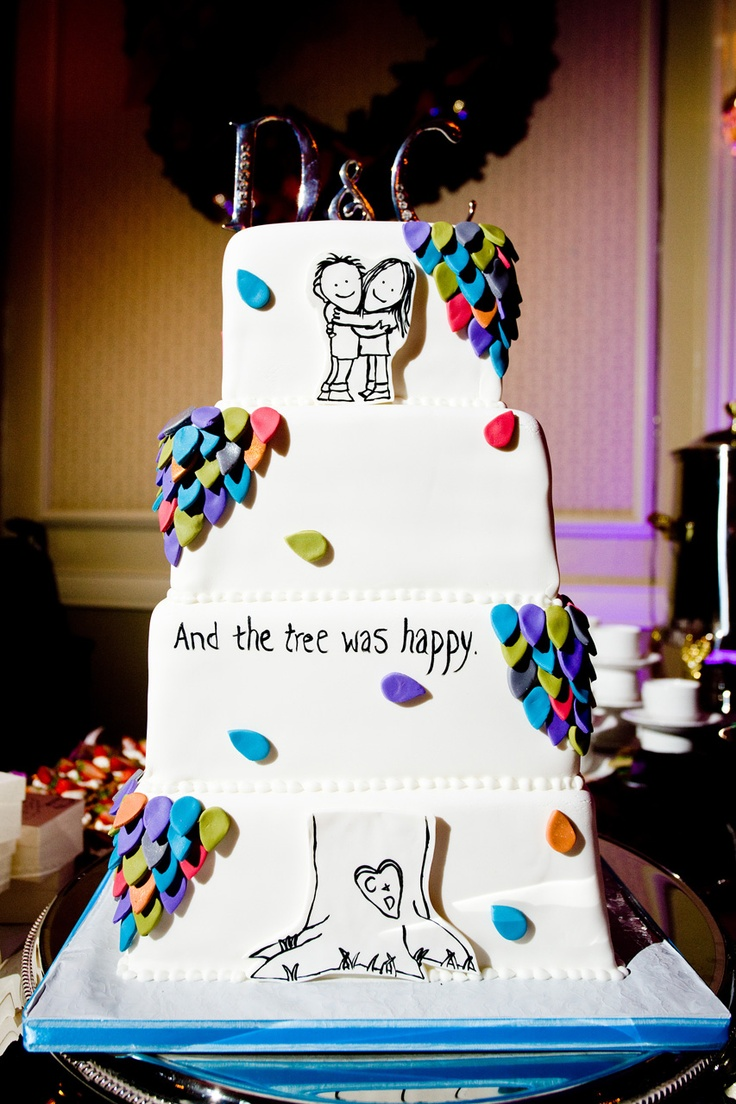 """""""The Giving Tree"""" themed wedding cake...pretty much the sweetest thing ever!"""