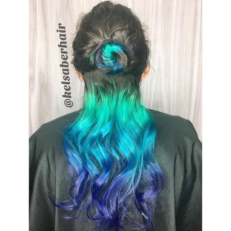 hidden vivid mermaid hair using purple, blue, and teal pulp riot