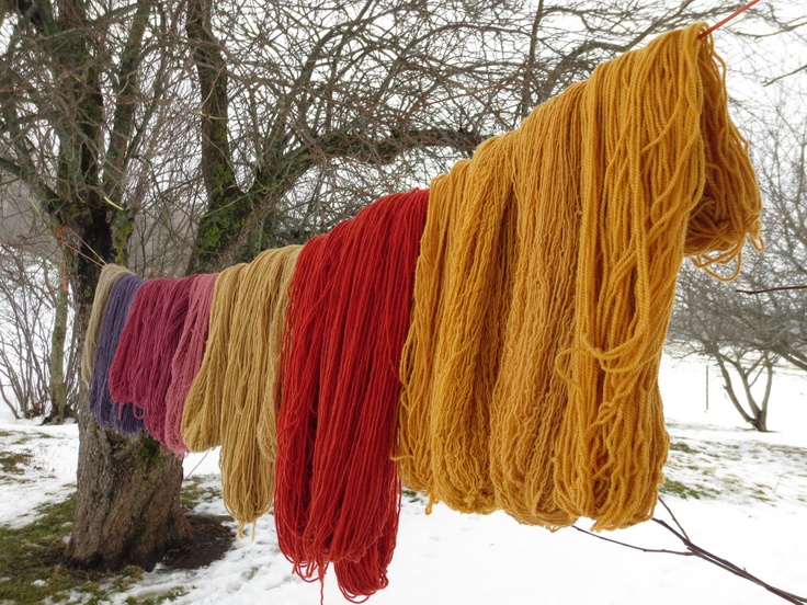 Naturally-dyed yarn at Bellemeade Farm in Mabou, Cape Breton Island, Nova Scotia.   www.bellemeadefarm.ca