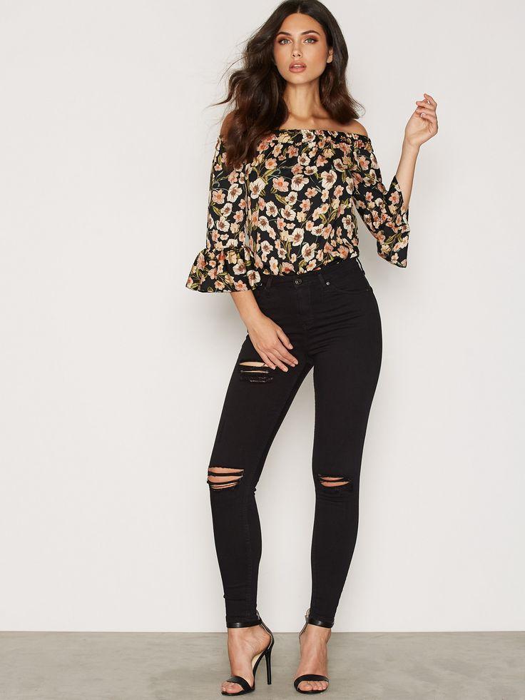 Shoppa Longline Poppy Floral Bardot Top - Online Hos Nelly.com