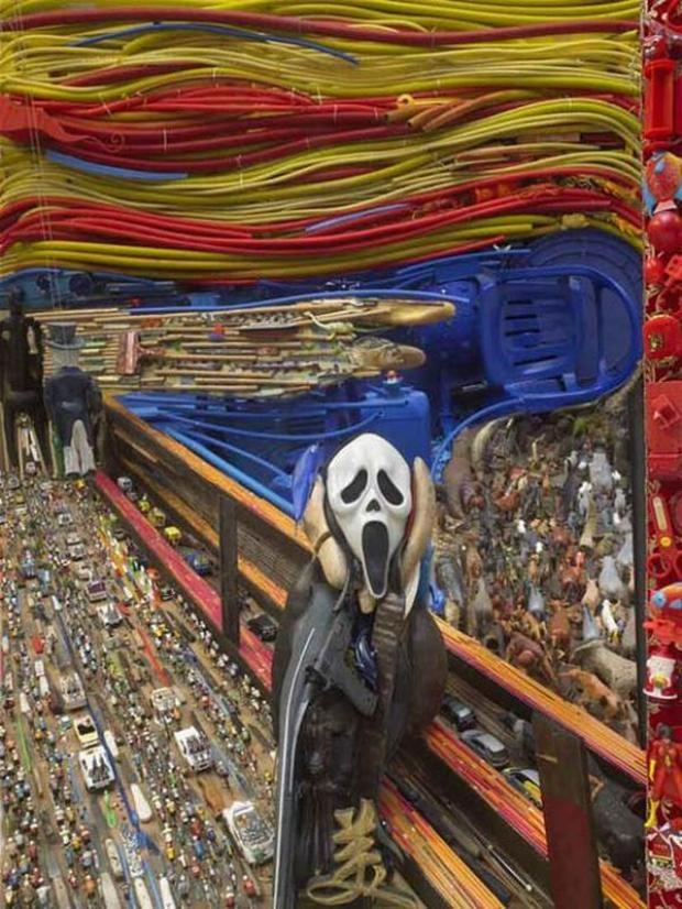 "#vivapositivamente @vivoverde mostra ""O Grito"" revisto com material reciclado."