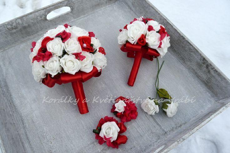 Set rudý - růže a stabilizované hortenzie