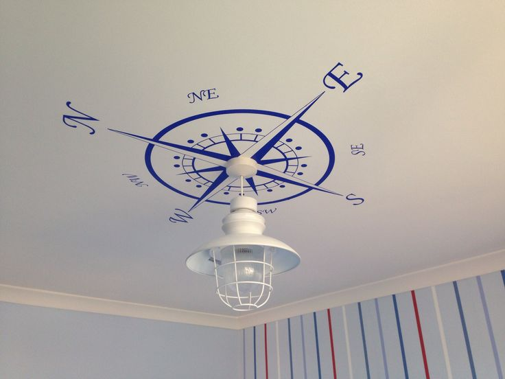 Compass light decor for my son's nautical theme bedroom.