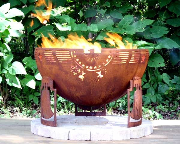 Freedom Fire Custom Steel Outdoor Fire Pit   Patriotic Themed Fire Bowl    My House My Home