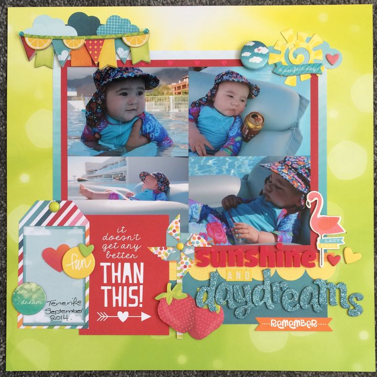 Scrapbook layout using Bo Bunny's Lemonade Stand and Simple Stories Good Day Sunshine