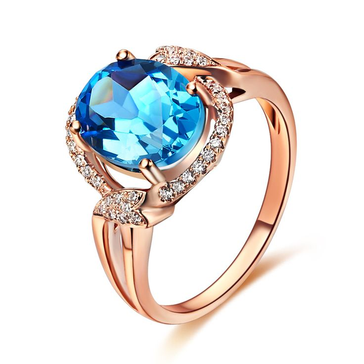 Natural Blue Topaz 14K Gold Ring Wedding Anniversary Or Engagement