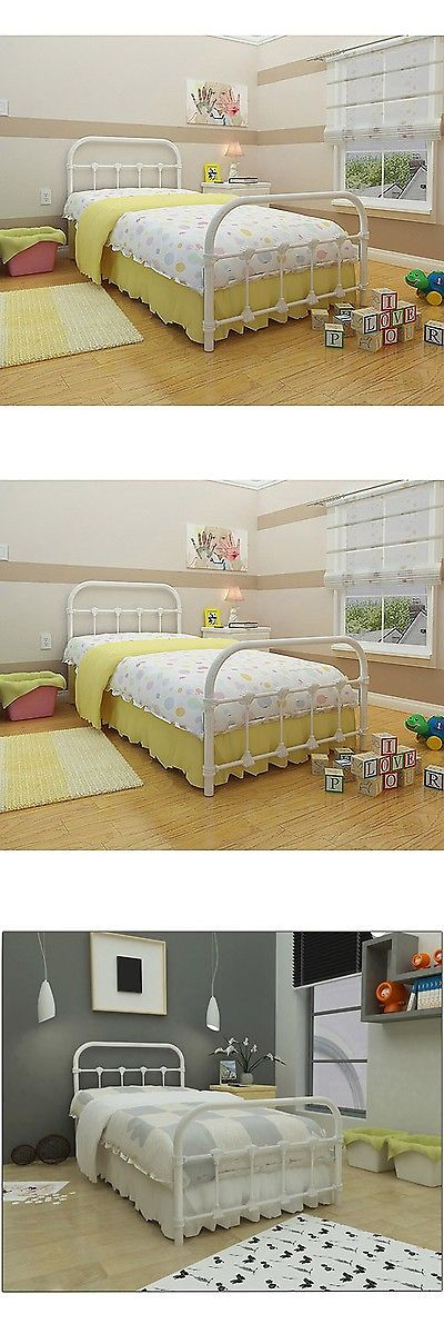 Kids Furniture: White Metal Twin Size Bed Frame Bedroom Furniture Antique Victorian Steel -> BUY IT NOW ONLY: $124.23 on eBay!