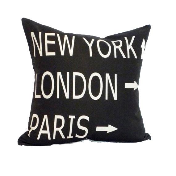 destination pillow cover in black and cream linen