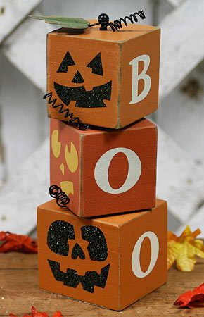 primitive valentine decor | Primitive Wood Boo Halloween Block Set - Table and Shelf Decorations ...