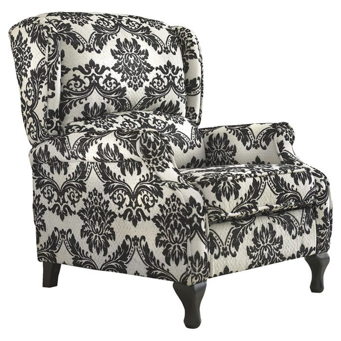 Damask Recliner Chair in Black & White. Black PatternLiving Room  FurnitureLiving ... - 25+ Best Ideas About Eclectic Recliner Chairs On Pinterest