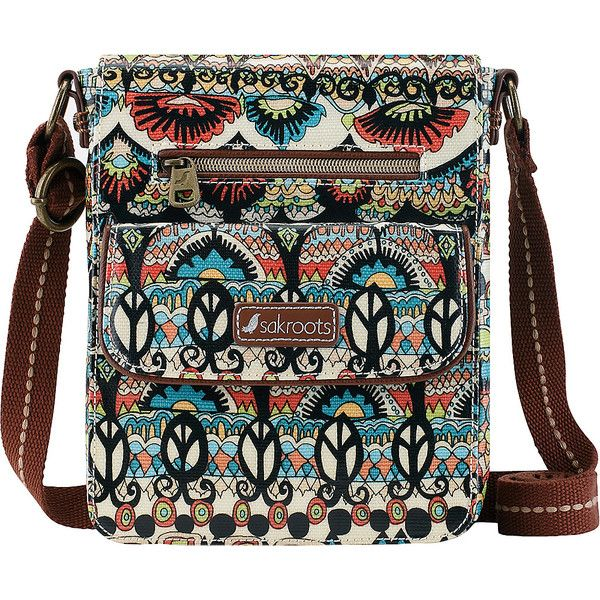 Sakroots Artist Circle Small Flap Messenger - Natural One World -... ($45