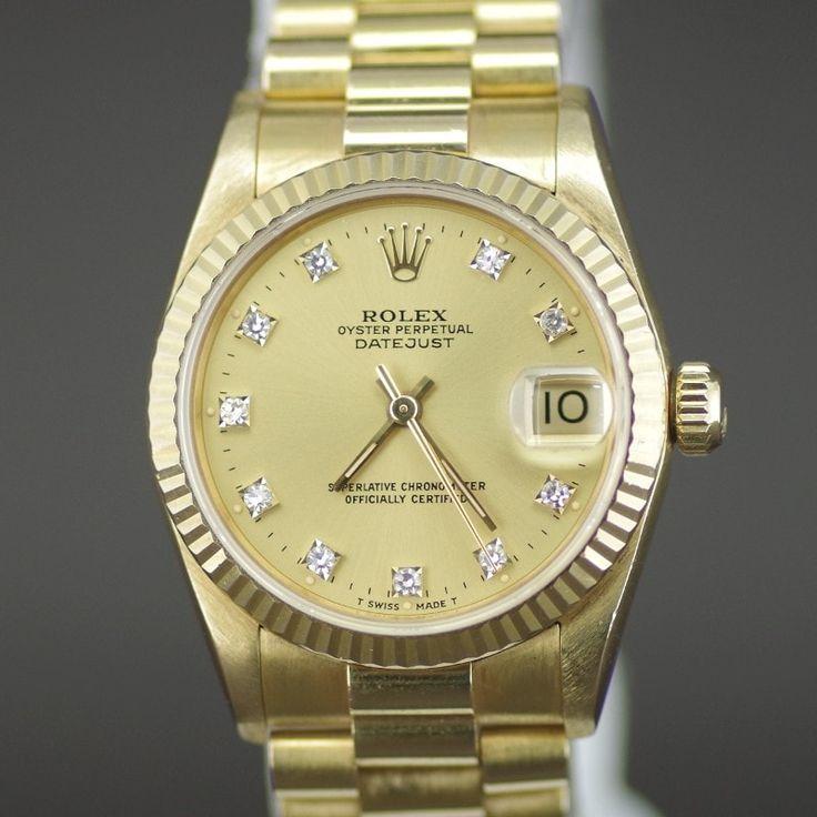 【中古】ROLEX(ロレックス) 68278 E番 デイトジャスト 10Pダイヤ オートマチック K18YG ボーイズ メンズ ゴールド文字盤時計/新品同様・極美品・美品の中古ブランド時計を格安で提供いたします。