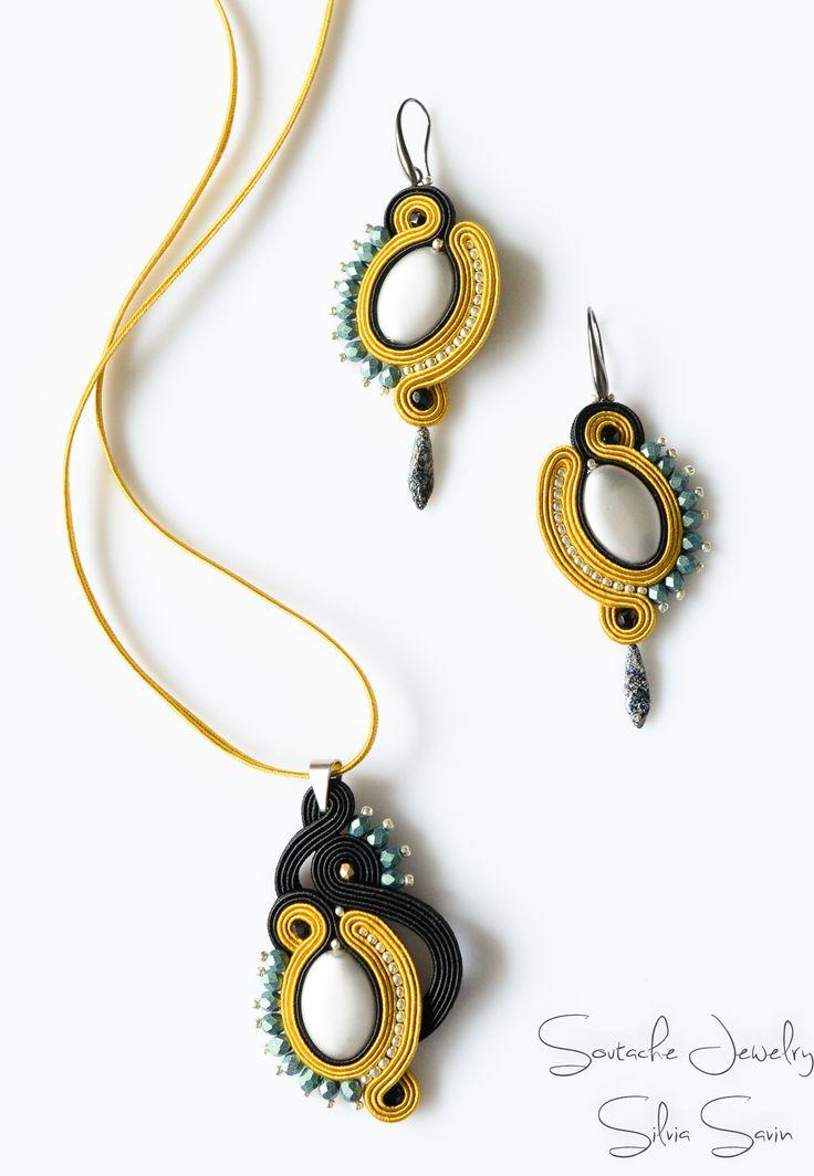 Soutache earrings and pendant