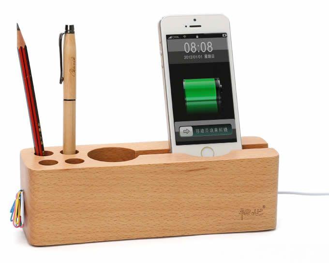 Wood Desktop Stationery Organizer Storage Cell Phone Holder