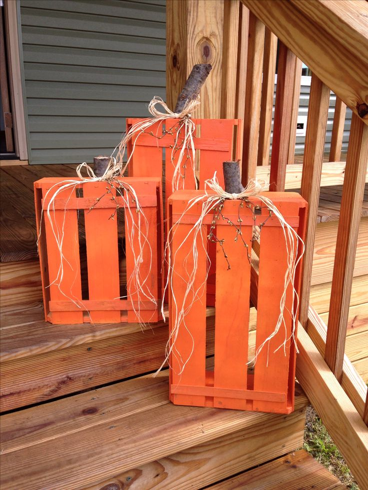 Paint Crates Pumpkin Color, Add Branch Stem & Tie With Corn Husk Ribbon