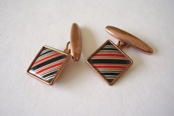 Cuff-links 1950's Vintage Black & Red Bar Stripe Enamel