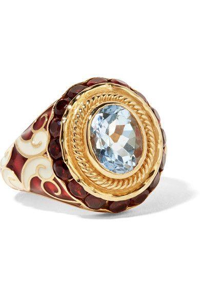 Percossi Papi | Gold, enamel, topaz and garnet ring | NET-A-PORTER.COM