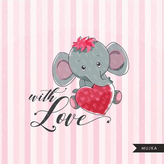 Valentine Clipart Cute Animals Valentine S Day Elephant Etsy In 2021 Valentine Clipart Cute Animal Clipart Clip Art