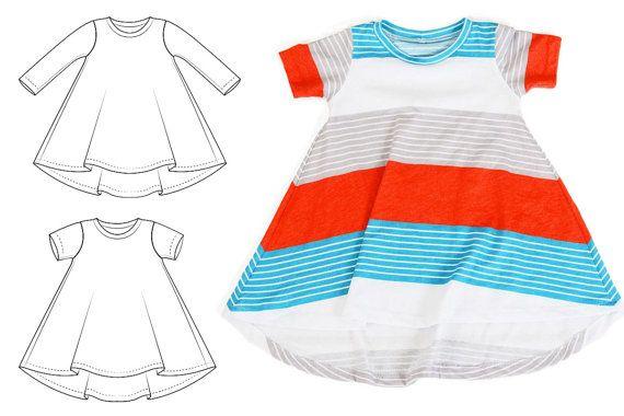 Tshirt dress pattern flare bottom curved hem// by brindilleandtwig