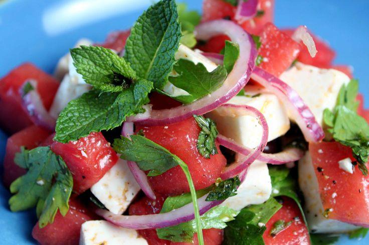 Tunisian Watermelon Salad ~ Feta, Watermelon, Mint, Lime juice, Red Onion rings, Black Pepper, Black Olives, Olive oil