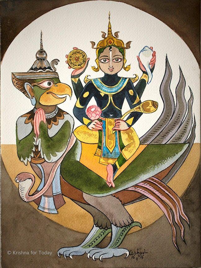 Garuavahana #watercolour #krishnafortoday