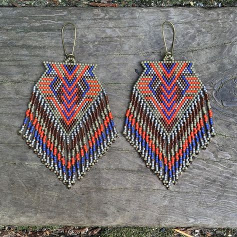 Manawat...Fractal seed bead earrings sacred by DancingWillowDesign