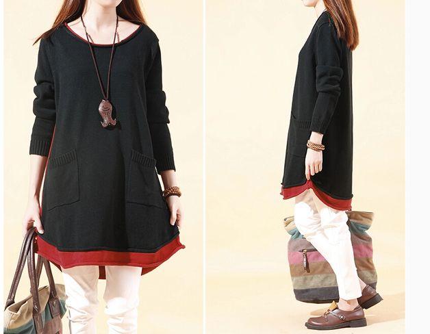 Jerseys y chalecos de lana - Mujer Otoño Negro Sweater Knitwear -141 - hecho a mano por MissJuan en DaWanda