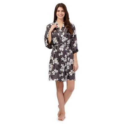 The Collection Grey floral short satin dressing gown-   Debenhams